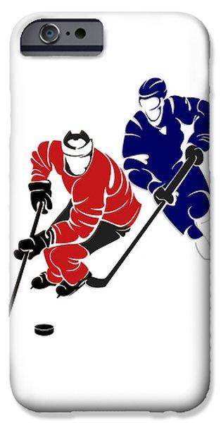 Ottawa iPhone Cases - Rivalries Senators And Maple Leafs iPhone Case by Joe Hamilton