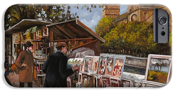 Bronze iPhone Cases - Rive gouche iPhone Case by Guido Borelli
