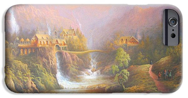 Earth Paintings iPhone Cases - Rivendell A Hobbits Tale. The Red Book iPhone Case by Joe  Gilronan