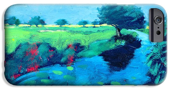 Rural iPhone Cases - River Acrylic On Card iPhone Case by Paul Powis