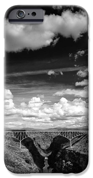 Rio Grande iPhone Cases - River and Clouds Rio Grande Gorge - Taos New Mexico iPhone Case by Silvio Ligutti