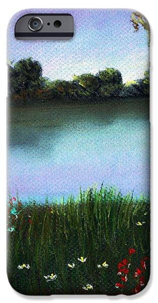 Flower Pastels iPhone Cases - River Bank iPhone Case by Anastasiya Malakhova