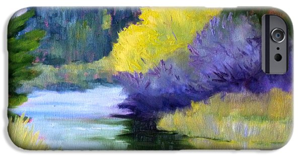 Business Paintings iPhone Cases - River Color iPhone Case by Nancy Merkle