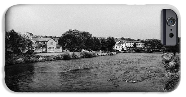 Overcast Day iPhone Cases - River Derwent On A Rainy Overcast Day Cockermouth Cumbria England iPhone Case by Joe Fox