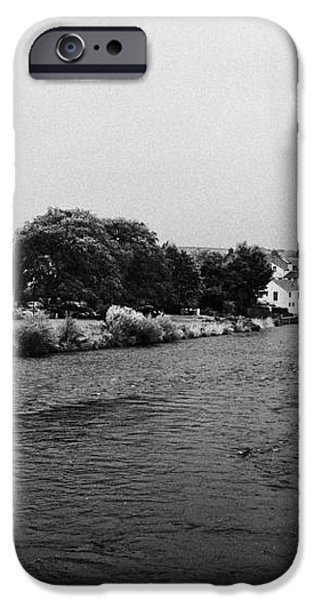 river derwent on a rainy overcast day cockermouth cumbria england iPhone Case by Joe Fox
