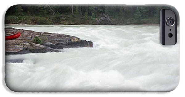 Canoe iPhone Cases - River Flowing In A Forest, Kicking iPhone Case by Panoramic Images
