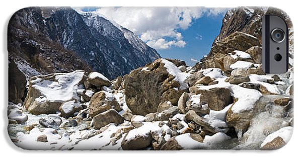 Snow iPhone Cases - River Flowing Through Rocks, Modi Khola iPhone Case by Panoramic Images