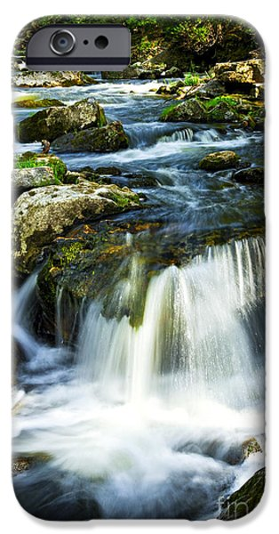 Lichens iPhone Cases - River flowing through woods iPhone Case by Elena Elisseeva