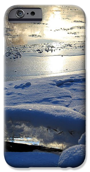 Reflections In River iPhone Cases - River Ice iPhone Case by Hanne Lore Koehler