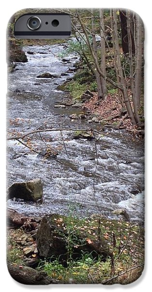 Forest iPhone Cases - River in the fall iPhone Case by Victoria  T
