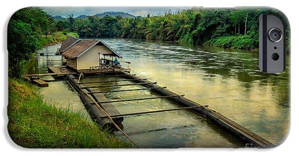 Raft iPhone Cases - River Kwai Kanchanaburi  iPhone Case by Adrian Evans