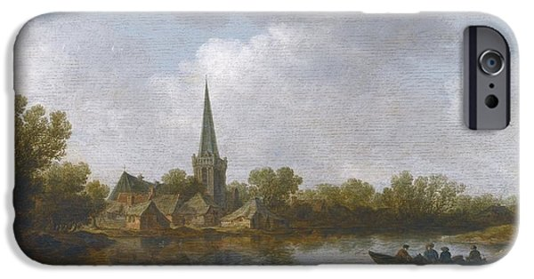 Landscape With Figure iPhone Cases - River Landscape With A Village iPhone Case by Jan Josefsz Van Goyen