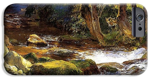 Vivid Drawings iPhone Cases - River Landscape with Deer iPhone Case by Bridgeman Frederick Arthur