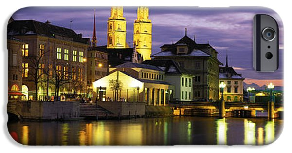 Grey Clouds Photographs iPhone Cases - River Limmat Zurich Switzerland iPhone Case by Panoramic Images
