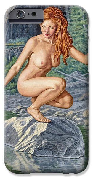 Figure iPhone Cases - River Nymph iPhone Case by Paul Krapf