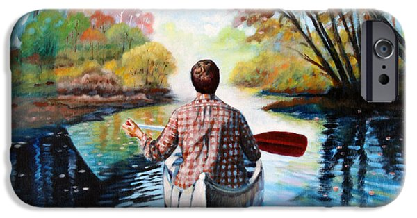 Canoe iPhone Cases - River of Dreams iPhone Case by John Lautermilch