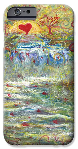 Sun Rays Paintings iPhone Cases - River of Love iPhone Case by Beckie J Neff
