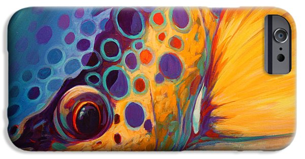 Images iPhone Cases - River Orchid - Brown Trout iPhone Case by Savlen Art