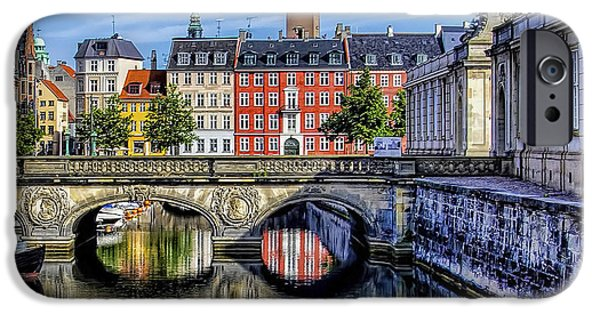 Wooden Ship iPhone Cases - River Reflection - Copenhagen Denmark iPhone Case by Jon Berghoff