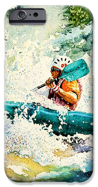 Canadian Sports Paintings iPhone Cases - River Rocket iPhone Case by Hanne Lore Koehler