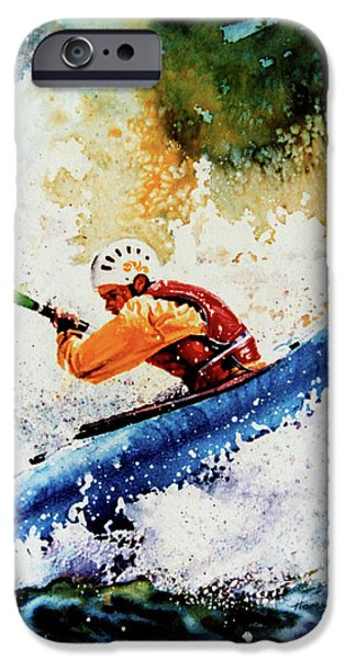 Summer Sports Paintings iPhone Cases - River Rush iPhone Case by Hanne Lore Koehler
