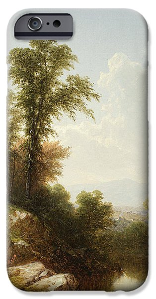 Reflecting Trees iPhone Cases - River Scene  Catskill iPhone Case by John William Casilear