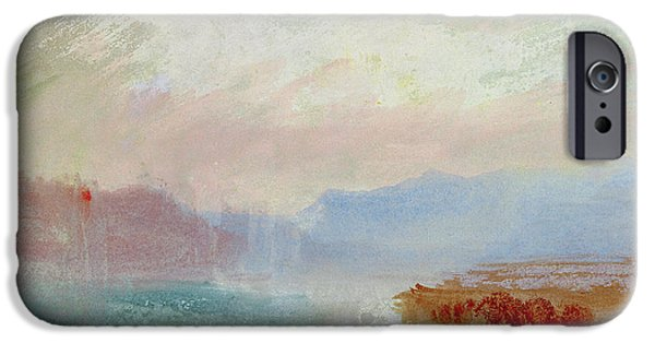 Mist Paintings iPhone Cases - River scene iPhone Case by Joseph Mallord William Turner