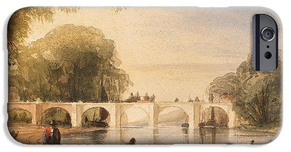 River Drawings iPhone Cases - River scene with bridge of six arches iPhone Case by Robert Hindmarsh Grundy