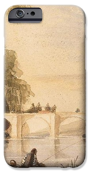 River scene with bridge of six arches iPhone Case by Robert Hindmarsh Grundy