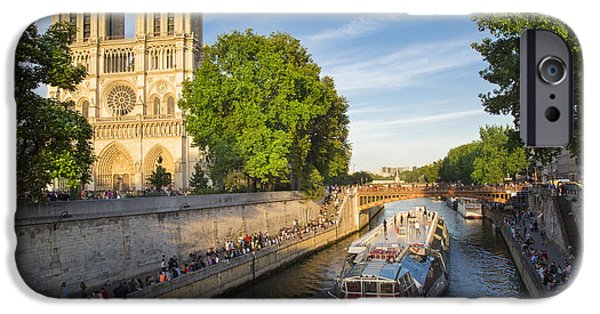 21st iPhone Cases - River Seine and Cathedral Notre Dame  iPhone Case by Brian Jannsen