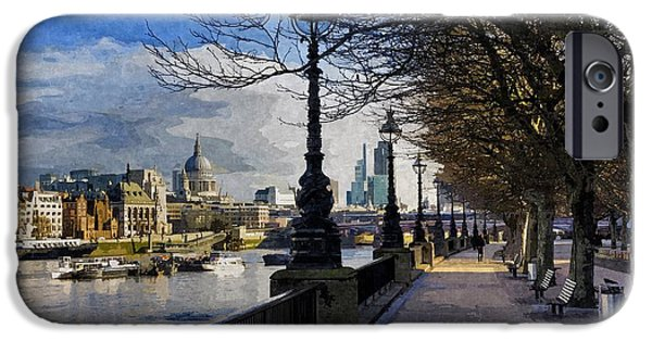 Jubilee Digital iPhone Cases - River Thames South Bank London England UK iPhone Case by Jon Boyes