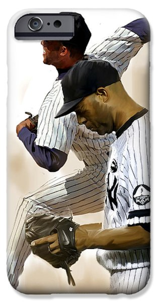 Relief Print iPhone Cases - RIVERA III Mariano Rivera  iPhone Case by Iconic Images Art Gallery David Pucciarelli