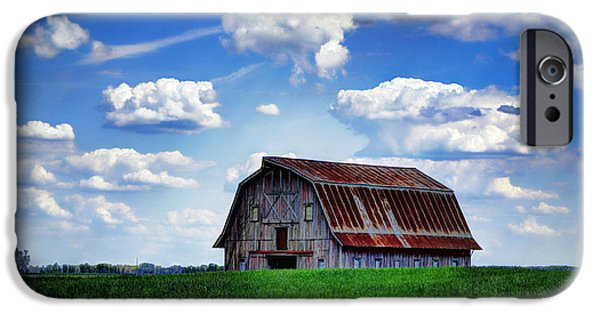 Old Barn iPhone Cases - Riverbottom Barn Against the Sky iPhone Case by Cricket Hackmann