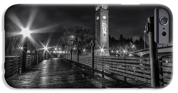 Spokane iPhone Cases - Riverfront Park Clocktower Seahawks Black and White iPhone Case by Mark Kiver