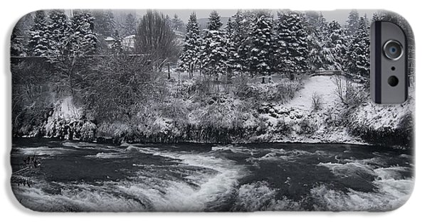 Winter Storm iPhone Cases - Riverfront Park Winter Storm - Spokane Washington iPhone Case by Daniel Hagerman