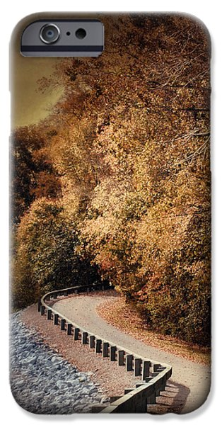 Fall Scenes iPhone Cases - Riverside Drive in Autumn - Landscape iPhone Case by Jai Johnson
