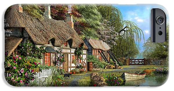 Victorian iPhone Cases - Riverside Home in Bloom iPhone Case by Dominic Davison