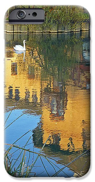 Reflections In River iPhone Cases - Riverside Homes Reflections iPhone Case by Gill Billington