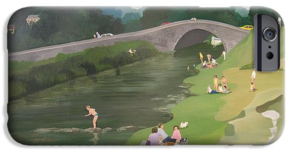 Bathing iPhone Cases - Riverside Picnic, 1989 Acrylic On Board iPhone Case by Maggie Rowe