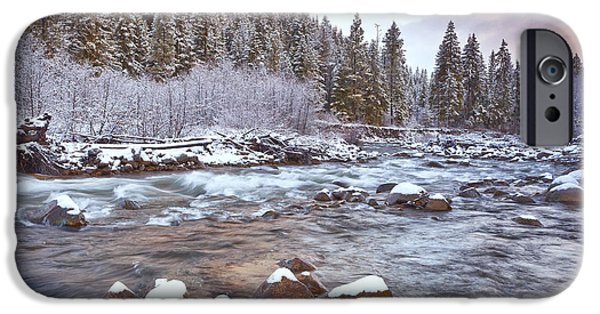 Winter Scene iPhone Cases - Riverwalk at Sunrise iPhone Case by Darren  White