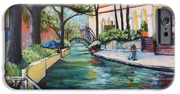 Park Scene Paintings iPhone Cases - Riverwalk iPhone Case by Wendy Delgado