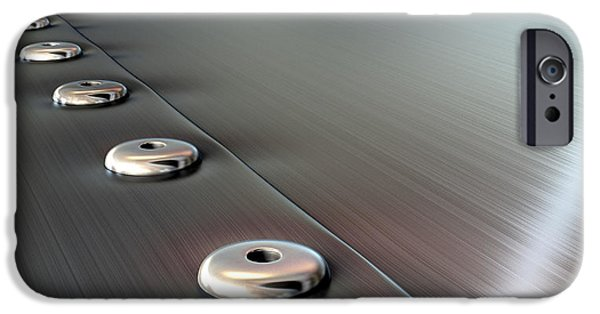 Aluminium iPhone Cases - Rivets On Brushed Metal Perspective iPhone Case by Allan Swart