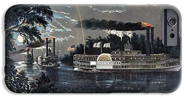 Fireworks iPhone Cases - Rl 27835 Rounding A Bend On The Mississippi Steamboat Queen Of The West Litho iPhone Case by N. Currier