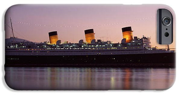 Commercial Photography iPhone Cases - Rms Queen Mary In An Ocean, Long Beach iPhone Case by Panoramic Images