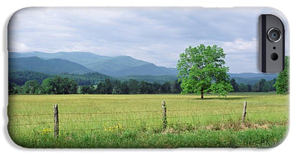 Barbed Wire Fences iPhone Cases - Road Along A Grass Field, Cades Cove iPhone Case by Panoramic Images