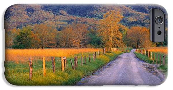 Tn iPhone Cases - Road At Sundown, Cades Cove, Great iPhone Case by Panoramic Images
