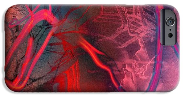 Abstract Digital Drawings iPhone Cases - Road Between Worlds iPhone Case by David Neace