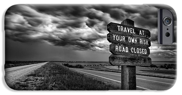 Storm iPhone Cases - Road Closed iPhone Case by Thomas Zimmerman