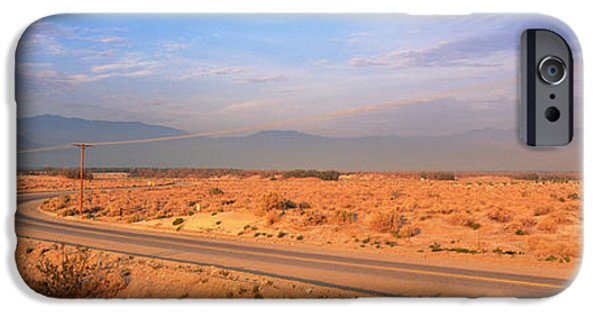 Thoroughfare iPhone Cases - Road Desert Springs Ca iPhone Case by Panoramic Images