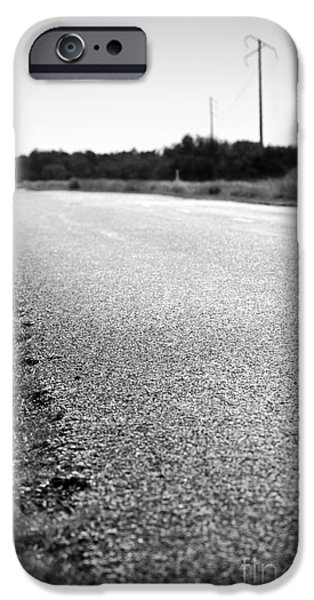 Asphalt iPhone Cases - Road Edge Black and White iPhone Case by Tim Hester